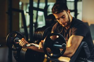 Strong biceps as a result of zealous training
